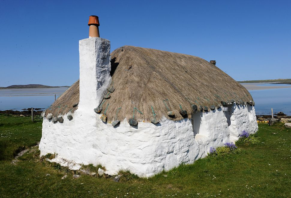 White washed thatched cottage in the Hebrides, Scotland