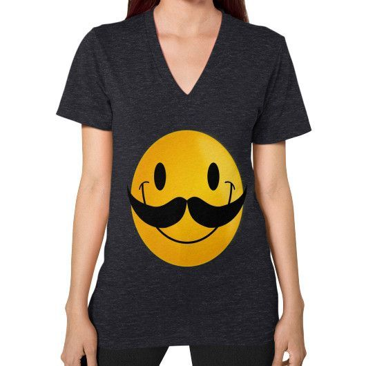MUSTACHE SMILEY ON AMERICAN V-Neck (on woman)