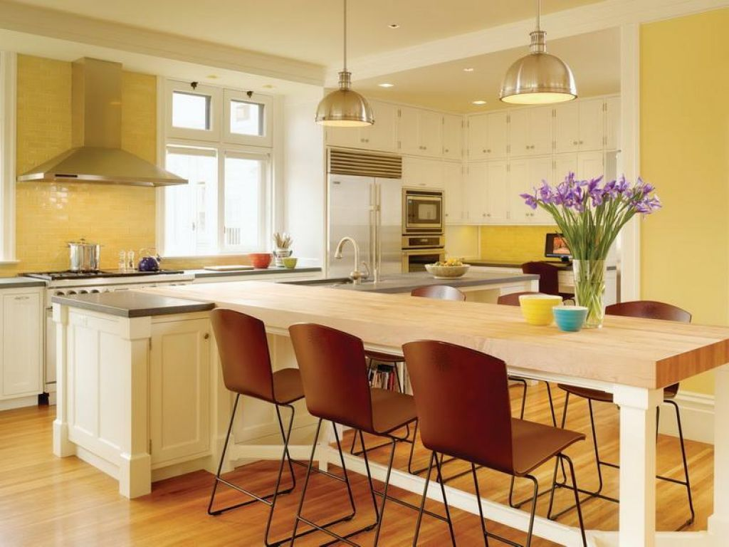 Yellow Combo Kitchen Design With White Island And Dining