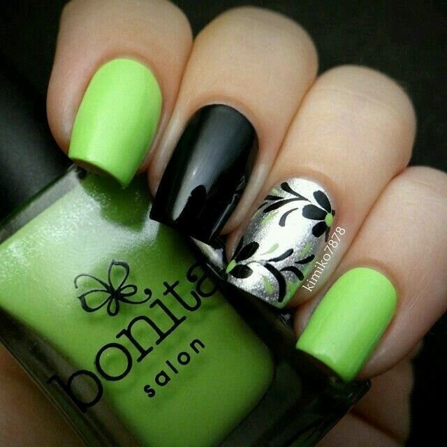 Neon Green, Black and Silver Mani with Floral Accent Nail - Pin By Ольга Ковалева On МАНИКЮР Pinterest