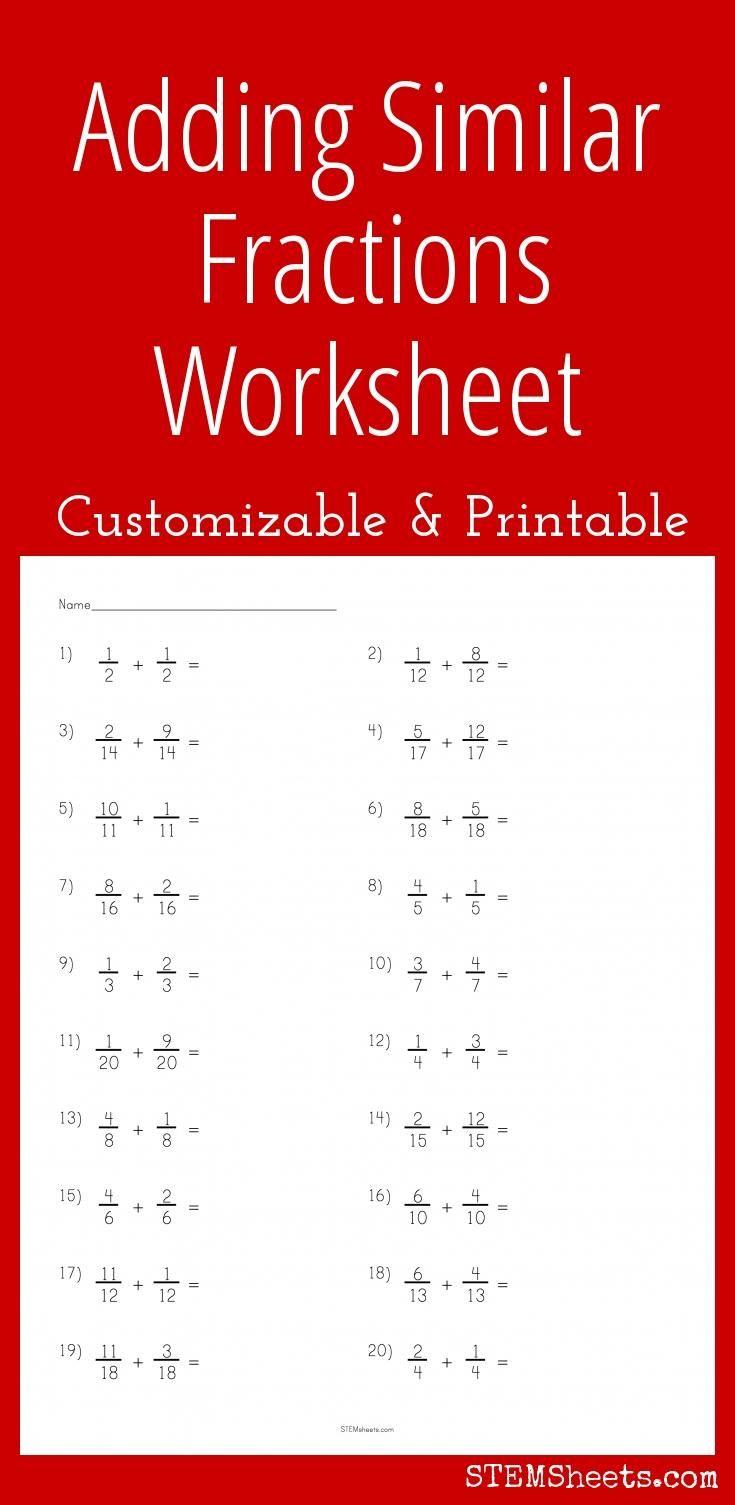 Adding Similar Fractions Worksheet Fractions Worksheets Fractions Teaching Fractions
