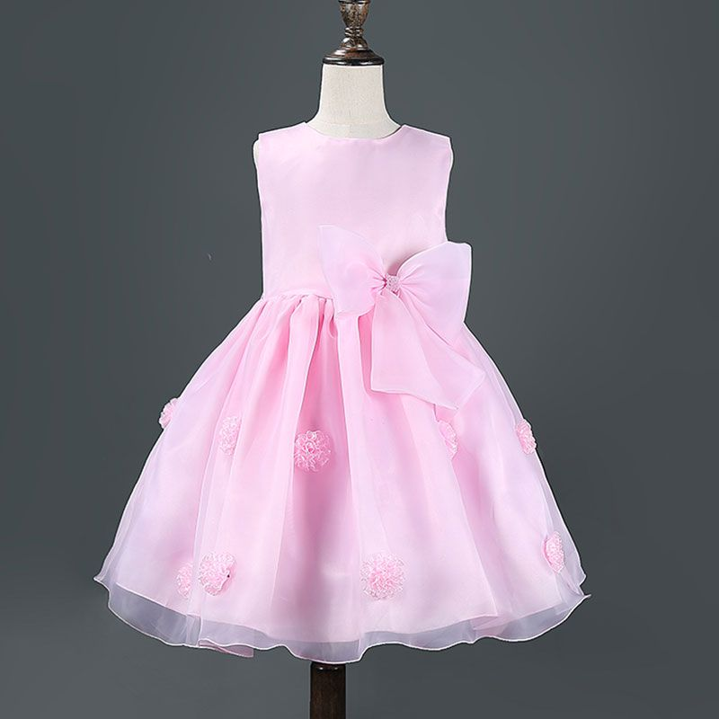Girl\'s Sleeveless Bowknot Accented Princess Dress in Pink | Items ...