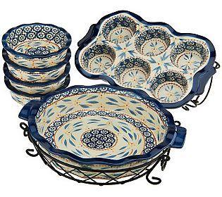 Temp Tations 8 Piece Ceramic Baking Set Cookware