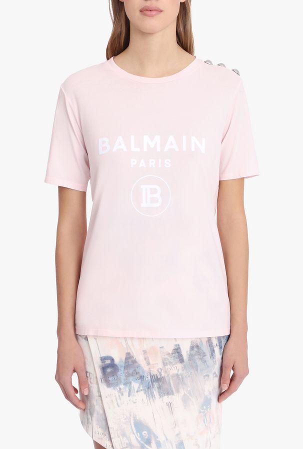 Camiseta De Algodón En Rosa Pastel Con Logotipo De Balmain