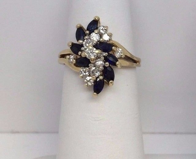 14K Solid Yellow Gold 8 Marquise Blue Sapphire 11 Diamond Waterfall Ring Size 5 #Cluster