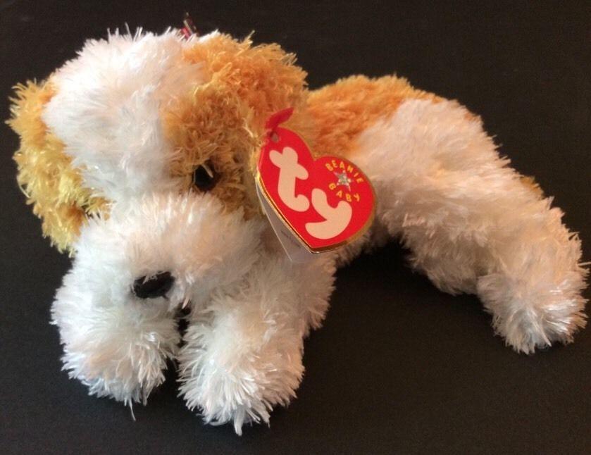 393b7b4ef53 Ty Beanie Babies Darling Puppy Dog White Tan Stuffed Plush 2001 Has Hang  Tag  Ty