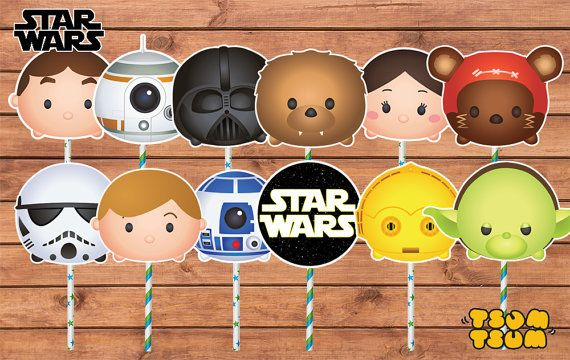 Starwars Tsum Tsum Cake/Cupcake Toppers. by PenguinCre8tions