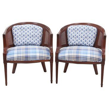 Check out this item at One Kings Lane! Caned Barrel Chairs, Pair