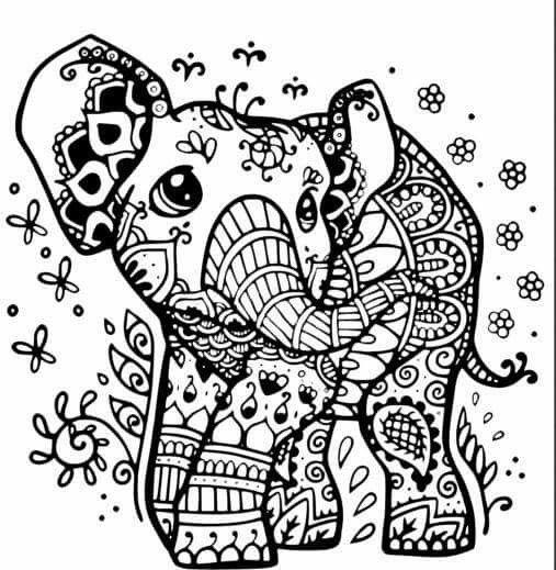 olifantje olifant tekening kleurplaten mandala kleurplaten