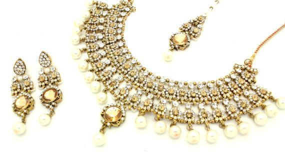96ee1a0b017a6 Stunning Antique Gold Silver Kundan Stone Heavy Pearl Indian ...