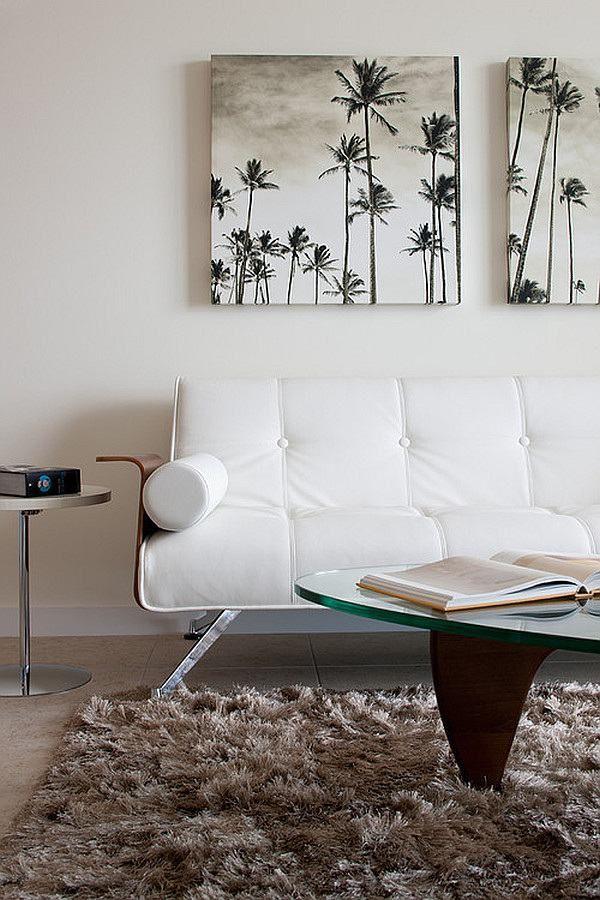wohnzimmer wanddeko shaggy teppich palmen schwarz weiß - bilder wohnzimmer einrichtung weis