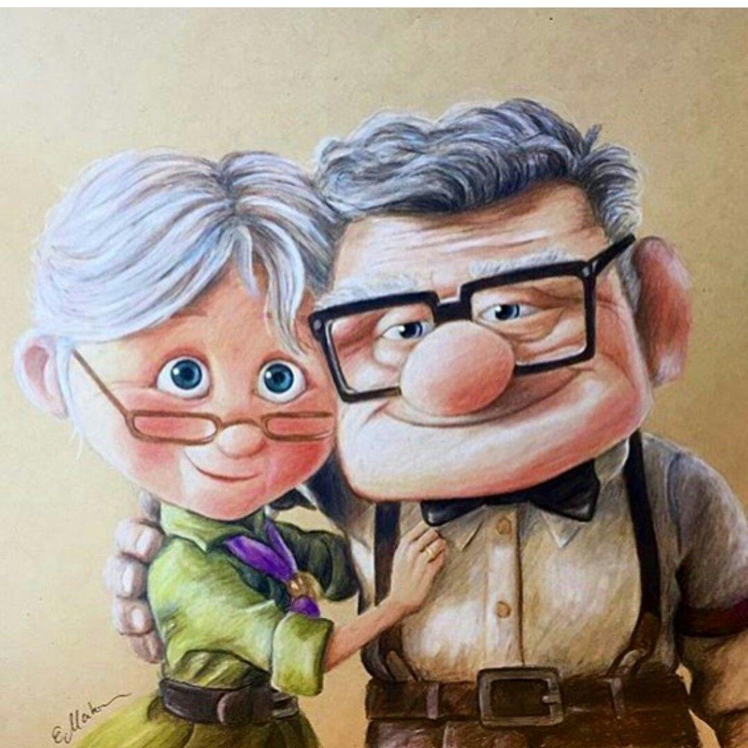 Ellie Carl Fredricksen Up 2009 Dibujo Abuela Figuras Animadas Pinturas Disney