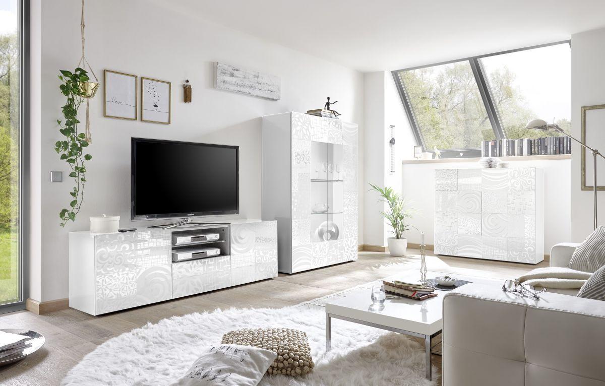 Wohnzimmer Weiss Hochglanz Lack Mit Siebdruck Classico Z-Miro Weiß ...