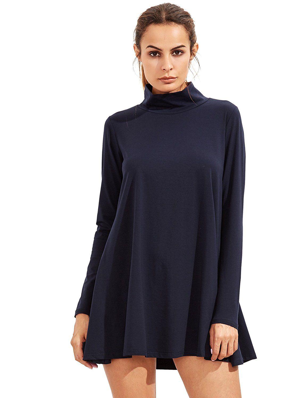 Shein Women 39 S Casual Loose Turtleneck Long Sleeve T Shirt Dress At Amazon Women S Clothing Store Long Sleeve Casual Dress Casual Dress Dresses [ 1500 x 1154 Pixel ]