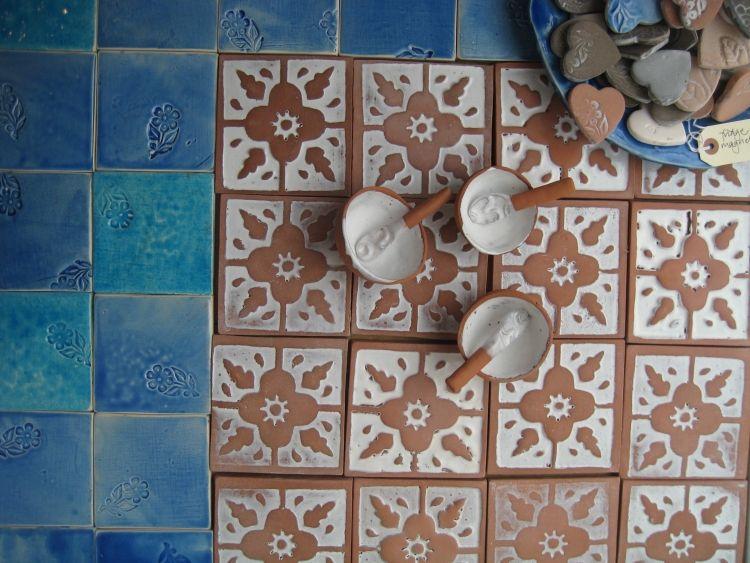 Fliesen Badezimmer Ideen Produktion Glazur Eimaile Blau Weiss