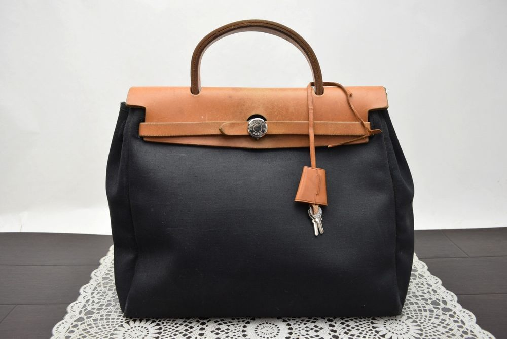 e36fc38a2d1b Authentic Hermes Hand Bag HerBag PM Black Canvas 344123  fashion  clothing   shoes