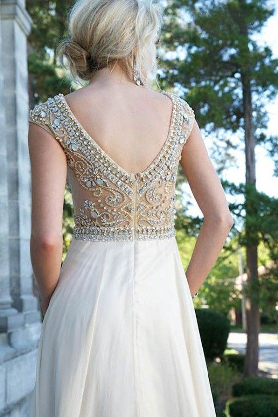 Modest White Chiffon Cap Sleeves Prom Long Dresses With Crystals ...