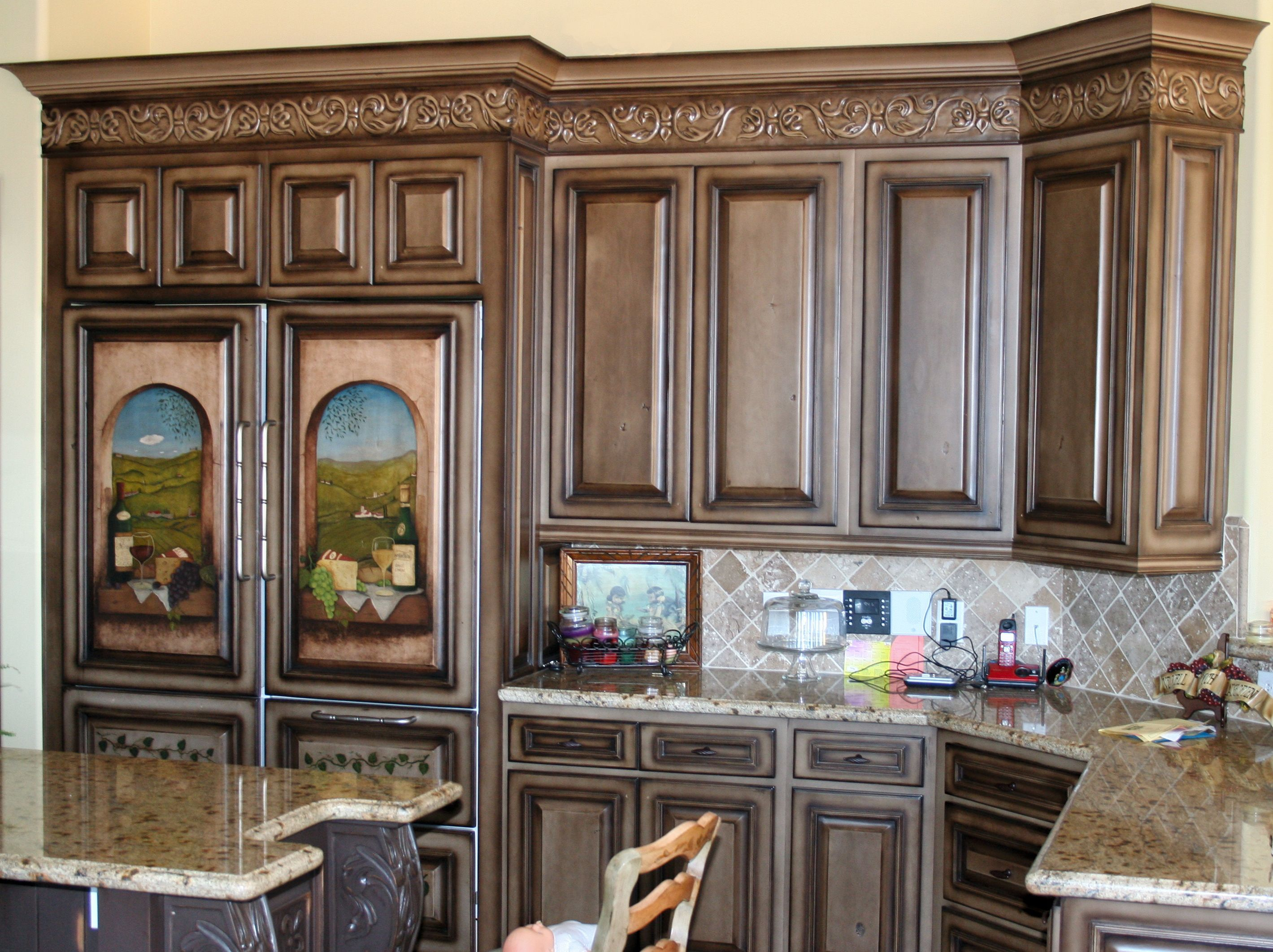 A Beautiful Example Of Tuscany Design Done Well In 2020 Cabinets And Countertops Custom Kitchen Cabinets Custom Cabinets
