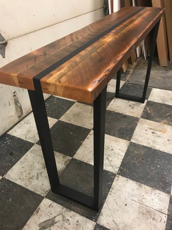 Reclaimed Wood Sofa Table Industrial Sofa Table Industrial Console Table Wood And Steel Table Industrial Media Stand Office Table Decoracion De Unas Madera Hogar