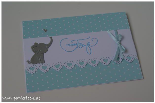 """Einladungskarten zur Taufe, gestaltet mit einem kleinen Elefanten. Der Spruch """"Einladung zur Taufe"""" wird gestempelt.  Solltet ihr andere Farbwünsche haben, könnt ihr mir gerne vorab eine Mail..."""