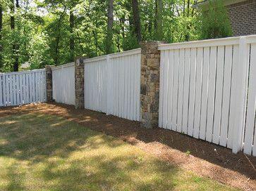 Vinyl Or Painted Wood Fence Stone Pillars Fences Traditional Landscape Atlanta Atlanta Deckin Traditional Landscape Backyard Fences Painted Wood Fence