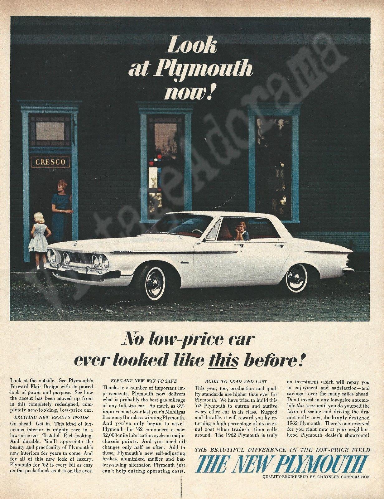 1962 Plymouth Automobile Original 1961 Vintage Color Print ...