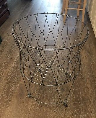 Vintage French Laundry Hamper Large Wire Basket Bin Great Display