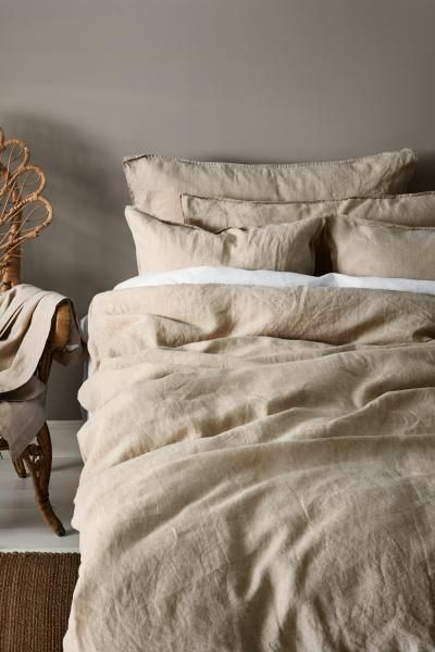 Washed Linen Duvet Cover Set With Images Bed Linens Luxury