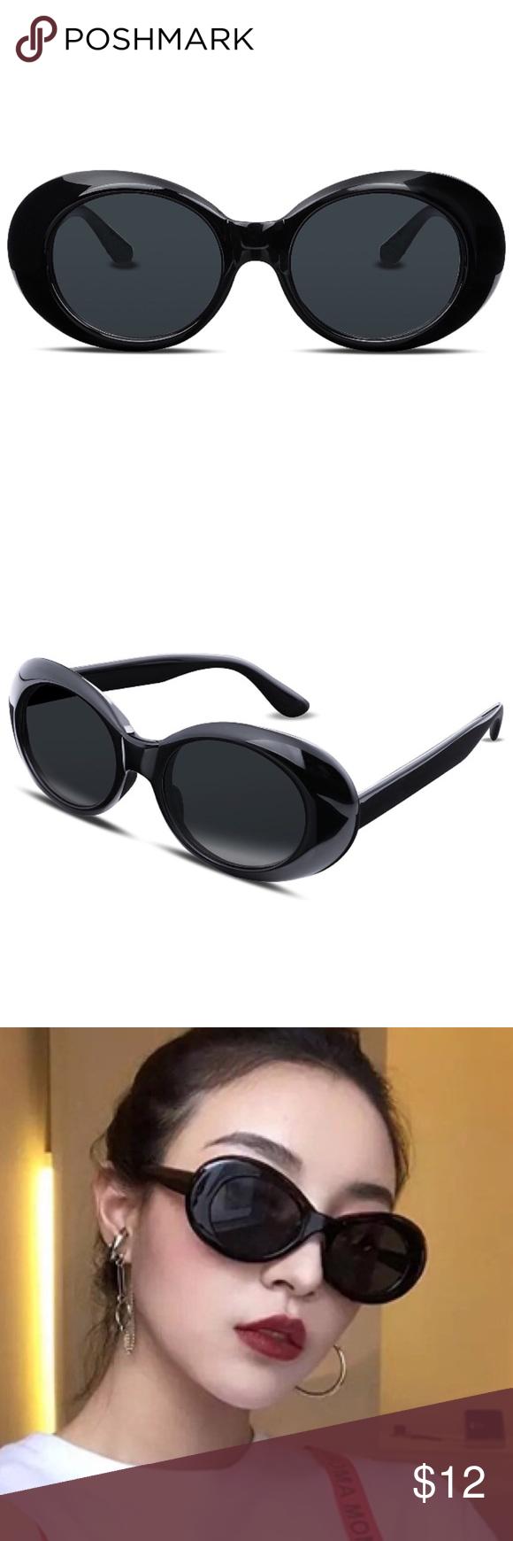 1e061d148833 Jackie O. Black Sunglasses Oversized Clout Goggles Super stylish Kurt  Cobain Sunglasses 😎 black frames with dark gray lenses. Retro 90s Grunge  by way of ...