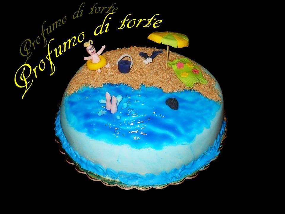 Torta in pasta di zucchero mare e spiaggia granella di for Decorazioni torte tema mare