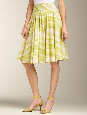 Zigzag Stripe Voile Full Skirt