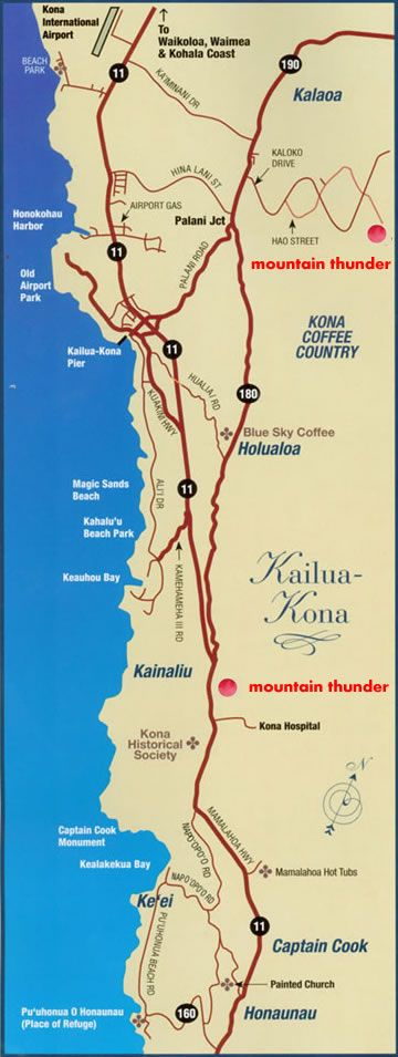 Map of Mountain Thunder's two locations. Organic coffee with a free Kona Coffee Farms Map Locations on