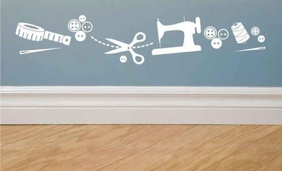 Sewing Images Vinyl Wall Decal Border By Greywolfgraphics On Etsy Sewing Studio Sewing Easy Diy Sewing Room Decor