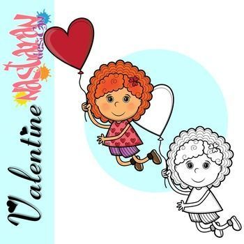 Free Valentines Day Clipart Contains 2 Color And Black White