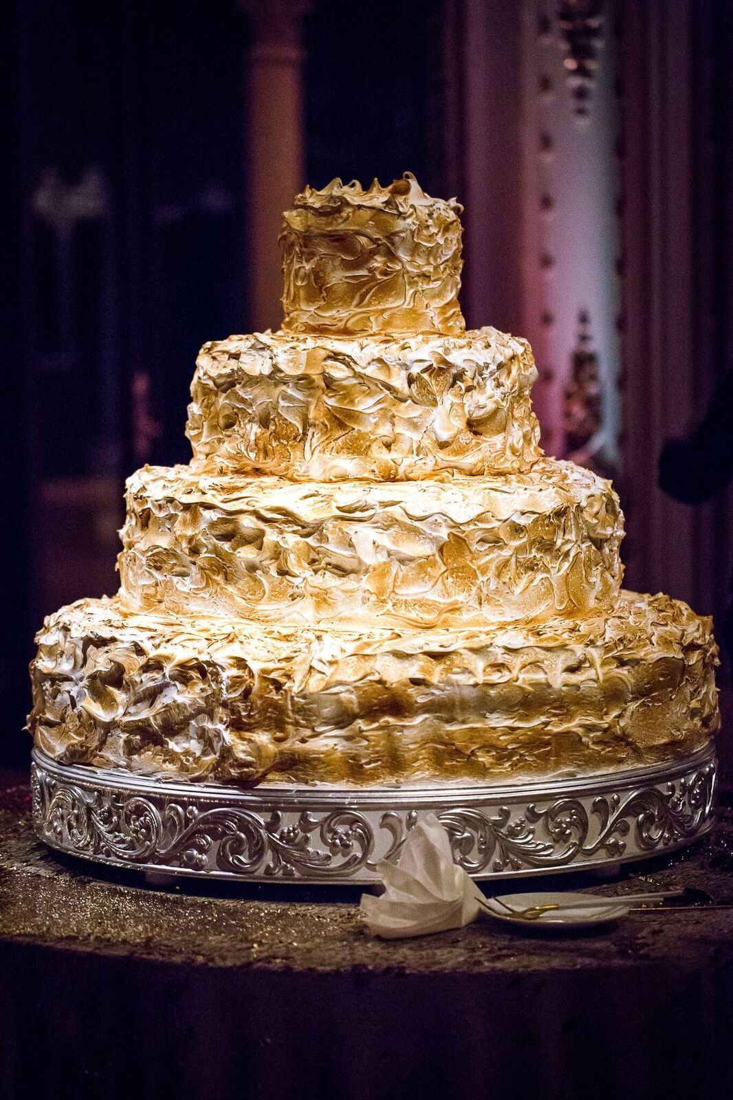 Ultimate textured gold wedding cake at The MarALago Club