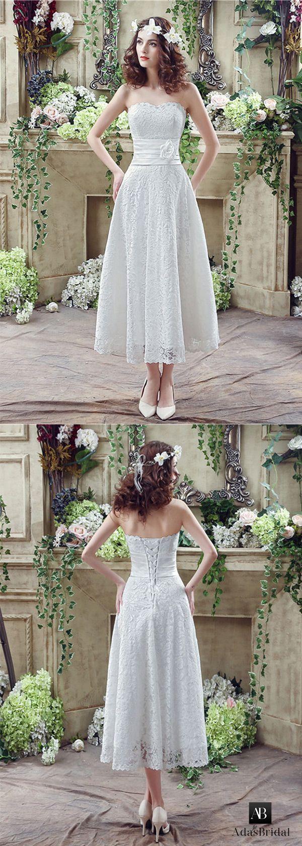 Best Aline Wedding Dresses  In stock lace strapless aline tea