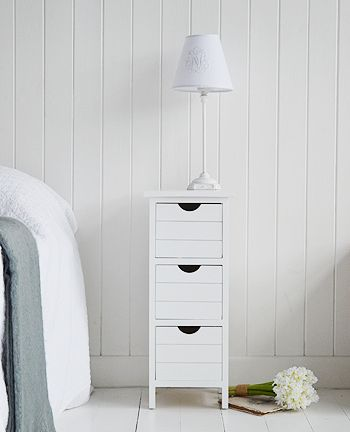 Very Slim Bedside Table white narrow bedside table with four drawers. perfect for when