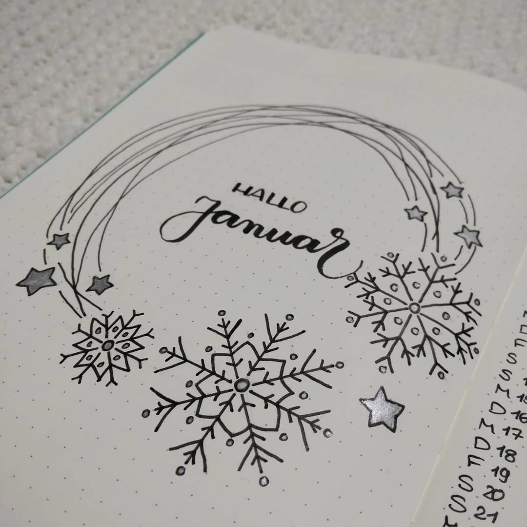 "@bujo.as on Instagram: ""Januar Titel. #snowflakes #bujo #bulletjournal #bujojunkies #bulletjournaljunkies #bujoinspire #bujobeauty #bujocommunity #bujogermany…"""