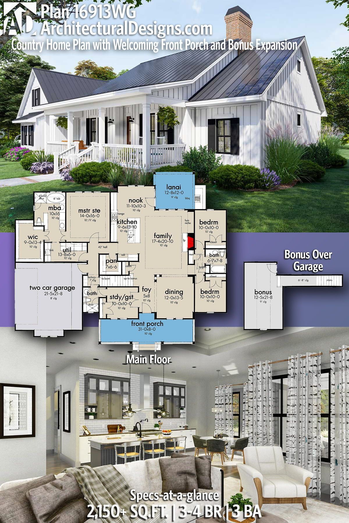 Plan 16913wg Country Home Plan With Welcoming Front Porch And Bonus Expansion Country House Plans Farmhouse Plans Modern Farmhouse Plans
