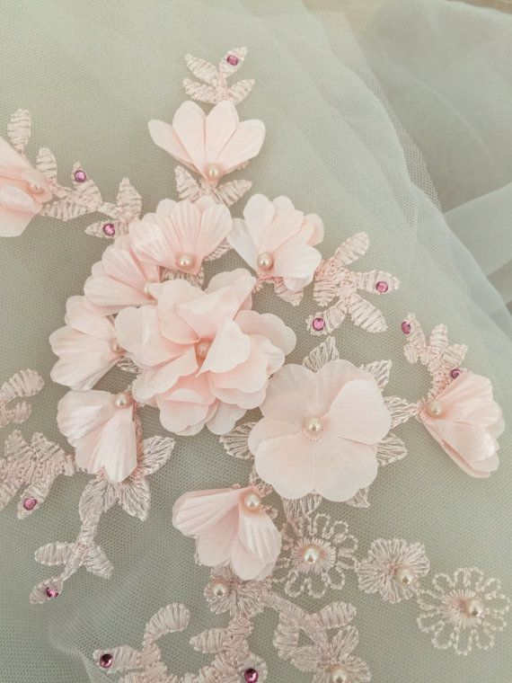1a2d787386714 Beaded lace applique in blush , 3D wedding lace applique, bridal ...