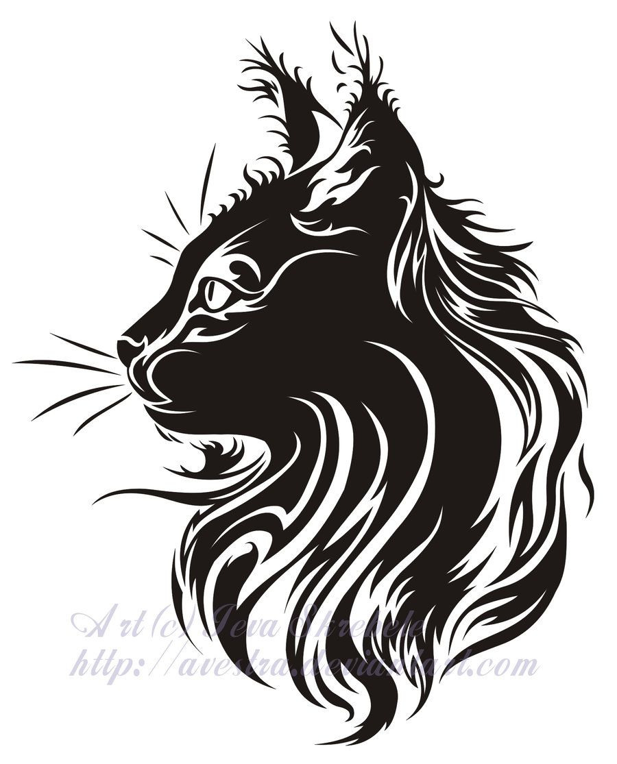 cat profile tribal tattoo by avestra on deviantart ink pinterest katzen brandmalerei und. Black Bedroom Furniture Sets. Home Design Ideas