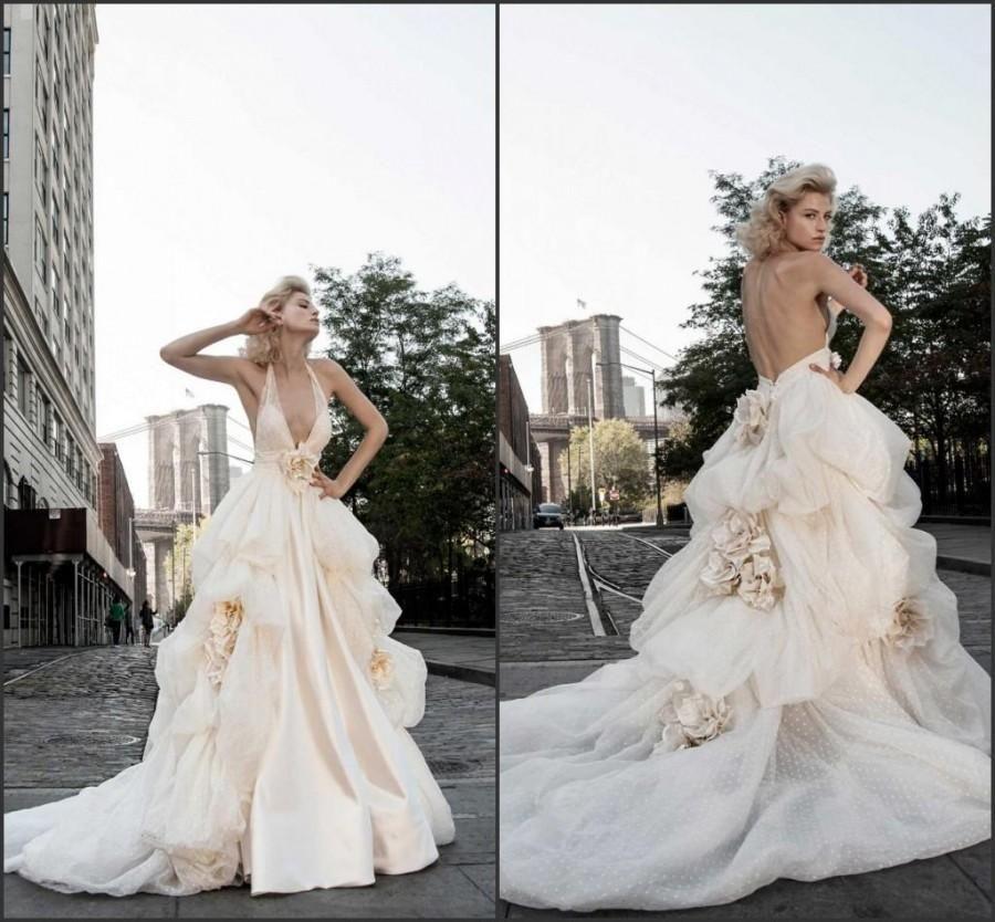 2015 Blush Backless Wedding Dresses Handmade Flower Deep V-Neck ...
