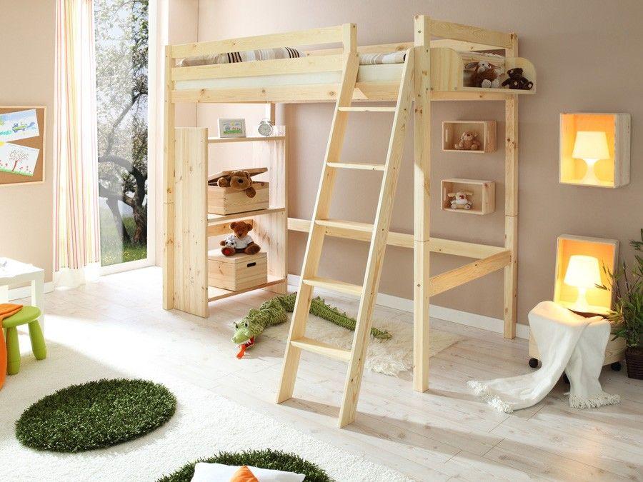 Letto a soppalco in legno pino massiccio naturale cameretta bambini mobili arredoline - Mobili in pino naturale ...