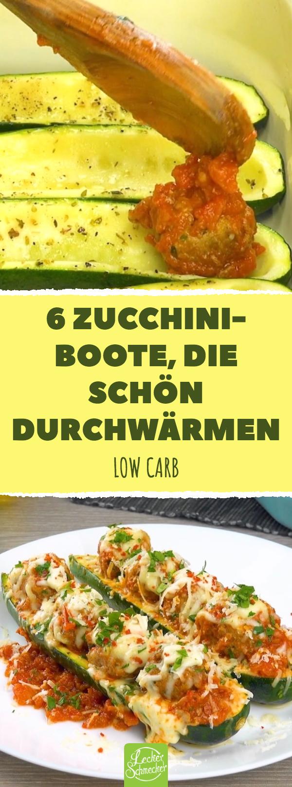 6 ZucchiniBoote die schön durchwärmen Low carb Mit Hackbällchen gefüllte Zucchini
