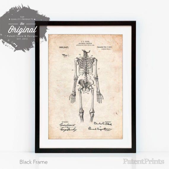 Anatomical Skeleton Patent Poster, Doctor Office Decor, Medical Student Gift, Skeleton Artwork, Doct #medicalstudents