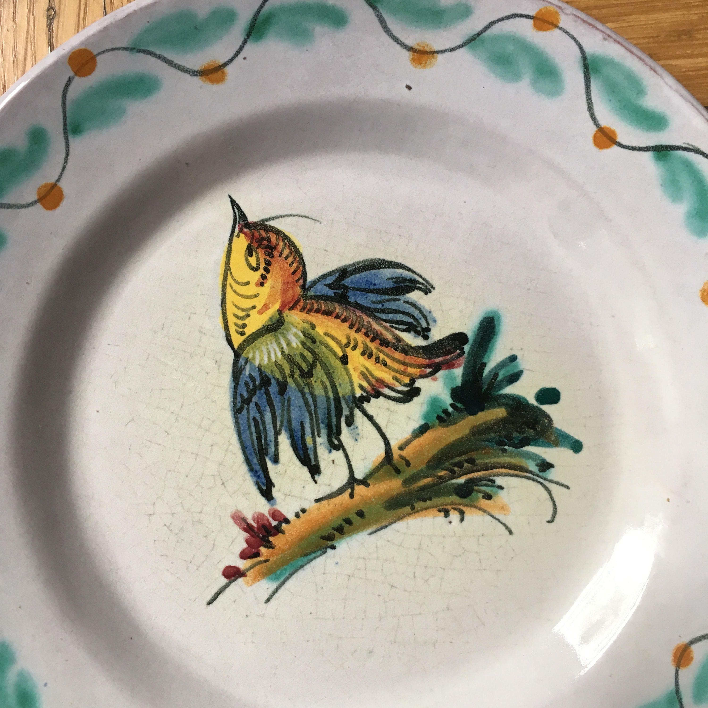 Vanro Italy Ceramic Plates Dinner Plates u0026 Serving Platter Set Bird Plates Italian Handpainted ceramic Signed & Vanro Italy Ceramic Plates Dinner Plates u0026 Serving Platter Set Bird ...
