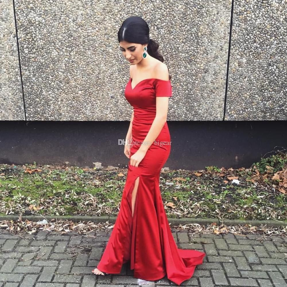 Dark Red Spandex Satin Off The Shoulder Prom Dress With Side Slit Formal  Occasion Party Dress Prom Dress For Sale Prom Dress Sewing Patterns From  Bigear 0c111a64595f