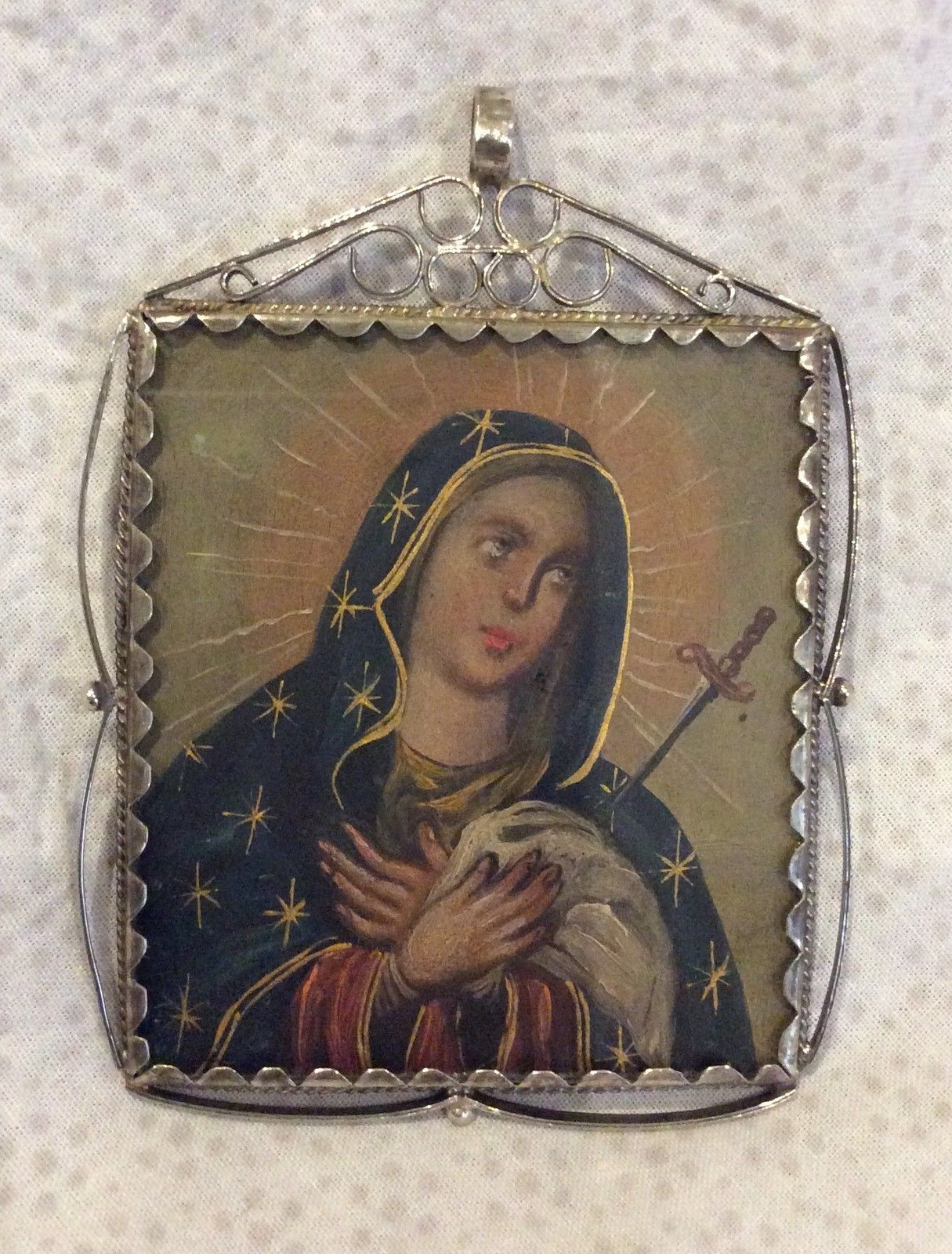 beautiful Reliquary, Silver sterling, St Anthony of Paduai, virgin Mary painful   eBay