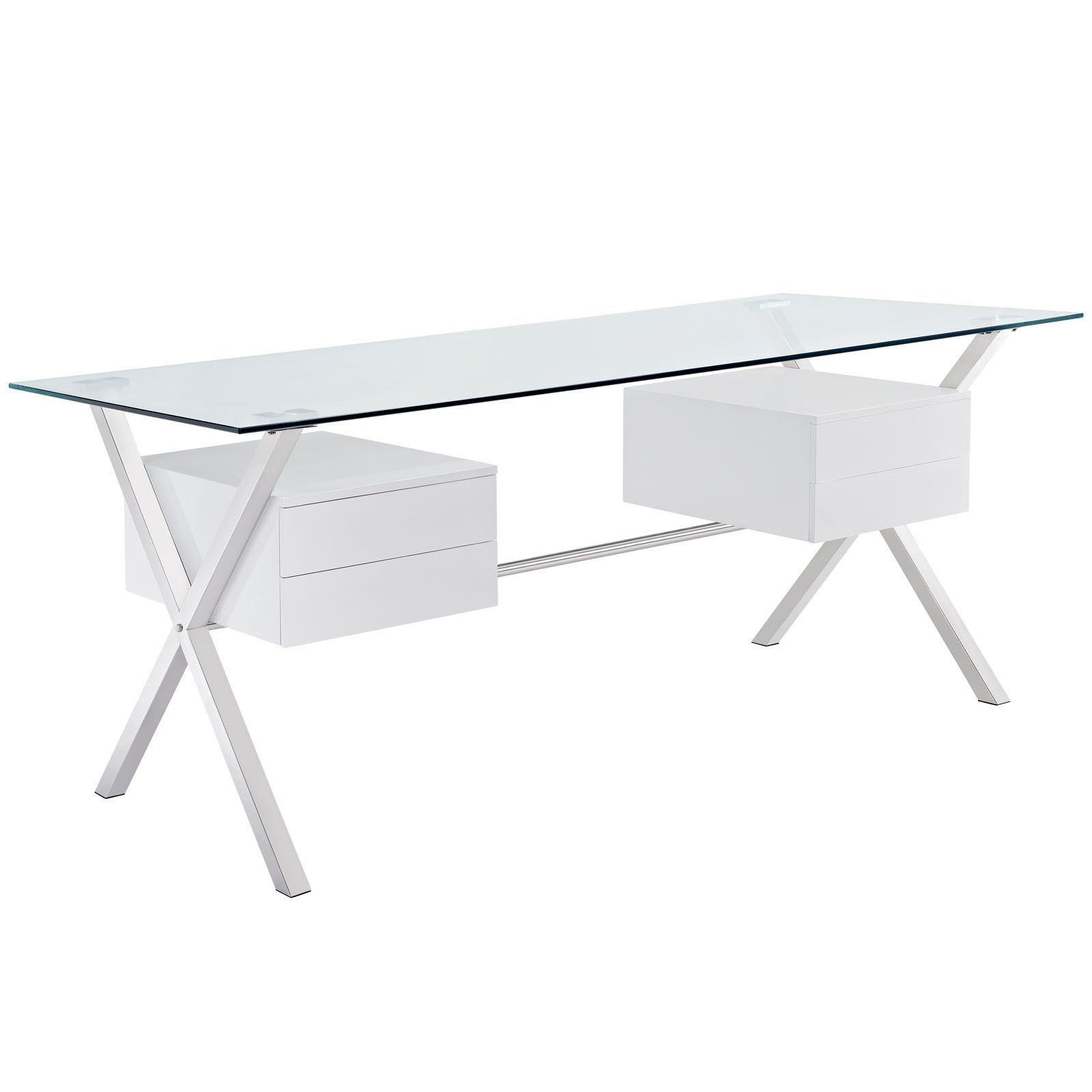 Lovely Modway Furniture Modern Writing Abeyance Glass Top Office Desk