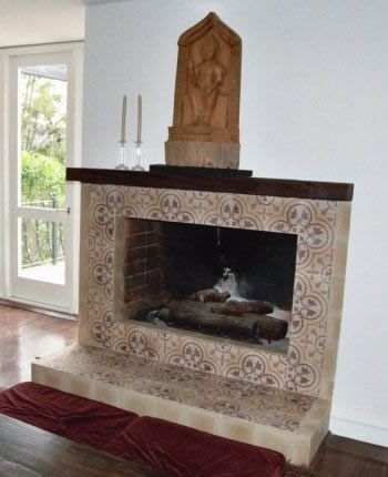 cluny cement tile fireplace surround - Fireplace Tile Design Ideas